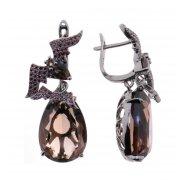 Серьги женские серебряные 925* чернение раухтопаз циркон Арт 11 10 4275sq