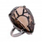 Кольцо женское серебряное 925* чернение раухтопаз циркон Арт 15 10 4275sq
