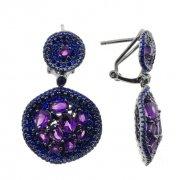 Серьги женские серебряные 925* чернение аметист Арт 11 10 0420am