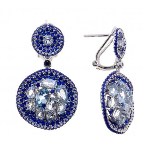 Серьги женские серебряные 925* родий топаз циркон Арт 11 10 0420tp