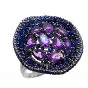Кольцо женское серебряное 925* чернение аметист Арт 15 10 0420am