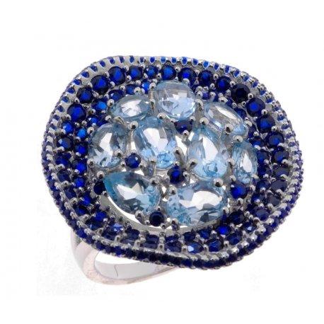 Кольцо женское серебряное 925* родий топаз циркон Арт 15 10 0420tp