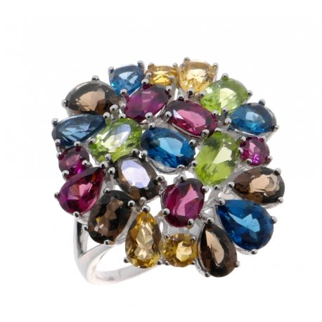 Кольцо женское серебряное 925* родий родолит цитрин перидот топаз раухтопаз Арт 15 10 545mix