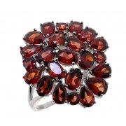 Кольцо женское серебряное 925* родий гранат Арт 15 10 545gr