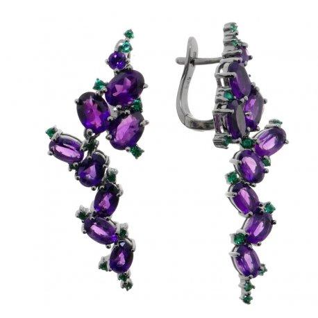Серьги женские серебряные 925* чернение аметист Арт 11 10 4641am