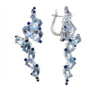Серьги женские серебряные 925* родий топаз циркон Арт 11 10 4641tp