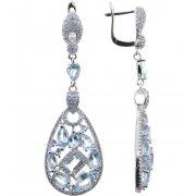 Серьги женские серебряные 925* родий топаз циркон Арт 11 10 4035tp