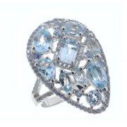 Кольцо женское серебряное 925* родий топаз циркон Арт 15 10 4035tp