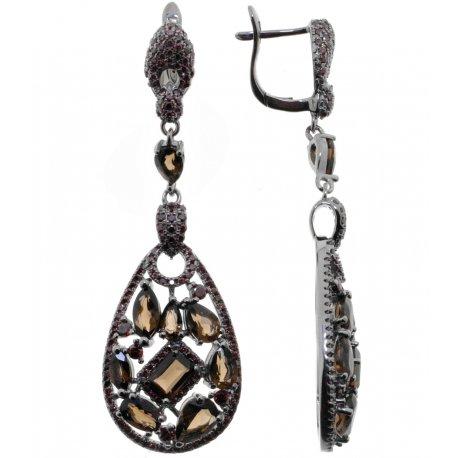 Серьги женские серебряные 925* чернение раухтопаз циркон Арт 11 10 4035sq