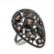 Кольцо женское серебряное 925* чернение раухтопаз циркон Арт 15 10 4035sq