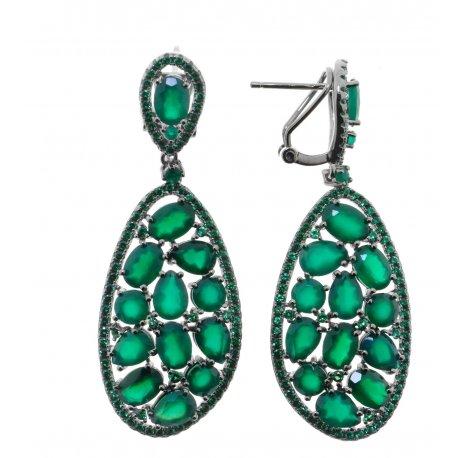Серьги женские серебряные 925* чернение агат Арт 11 10 0438ag