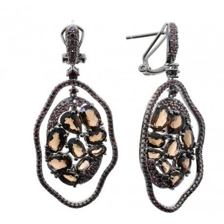 Серьги женские серебряные 925* чернение раухтопаз циркон Арт 11 10 0436sq