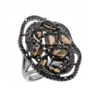 Кольцо женское серебряное 925* чернение раухтопаз циркон Арт 15 10 0436sq