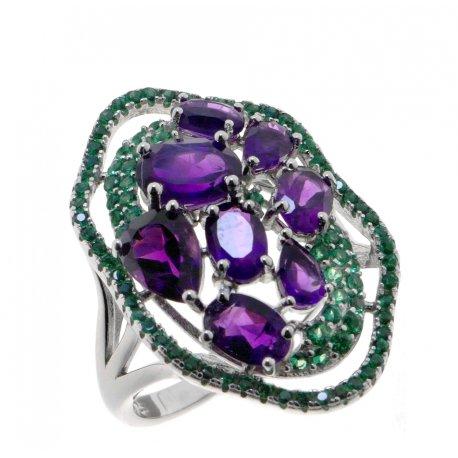 Кольцо женское серебряное 925* родий аметист Арт 15 10 0436am