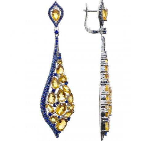 Серьги женские серебряные 925* родий цитрин Арт 11 10 0458ctr