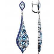 Серьги женские серебряные 925* родий топаз циркон Арт 11 10 0458mix