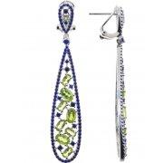 Сережки жіночі срібні 925* родій перідот Арт 11 10 0439pr