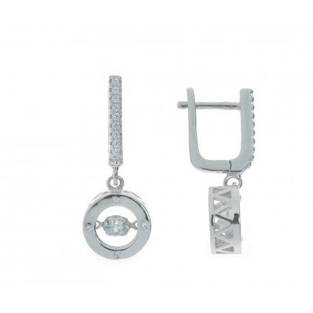 Серьги женские серебряные 925* родий цирконий Арт 11 3 1359