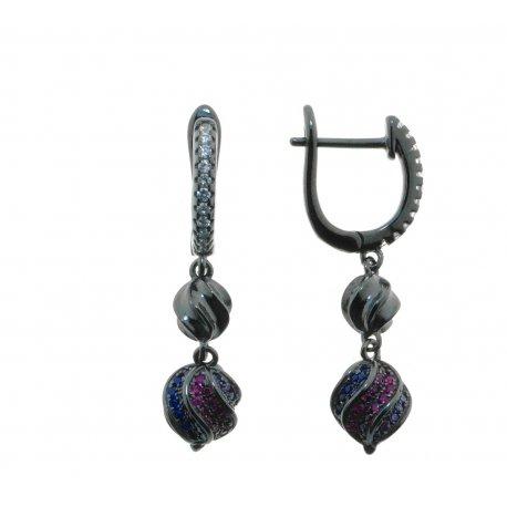 Серьги женские серебряные 925* чернение цирконий Арт 11 3 5074