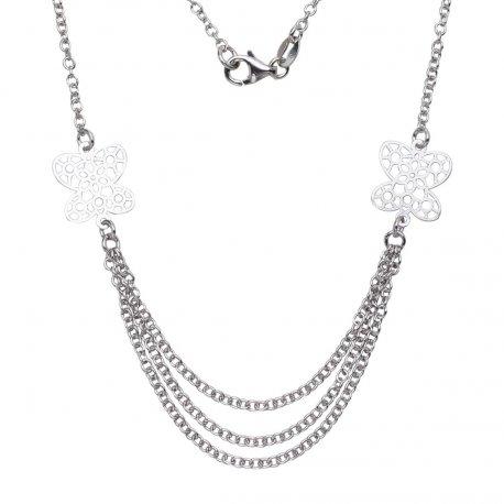 Колье женское серебряное 925* родий Арт 300 112