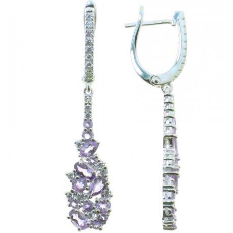 Серьги женские серебряные 925* родий аметист Арт 11 0 6074am