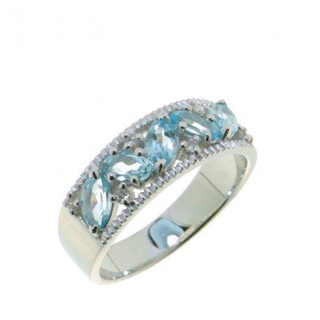 Кольцо женское серебряное 925* родий топаз циркон Арт 15 0 5712tp