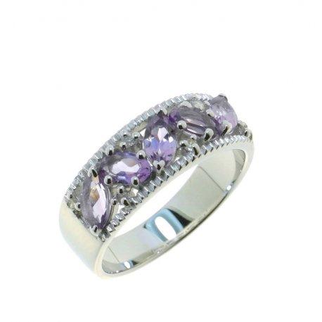 Кольцо женское серебряное 925* родий аметист Арт 15 0 5712am