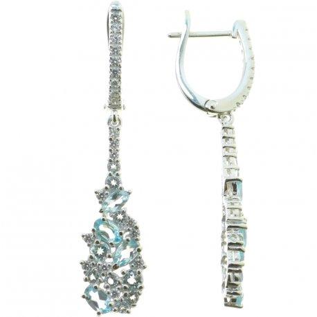 Серьги женские серебряные 925* родий топаз циркон Арт 11 0 6074tp