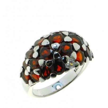 Кольцо женское серебряное 925* родий гранат Арт 15 0 6077gr