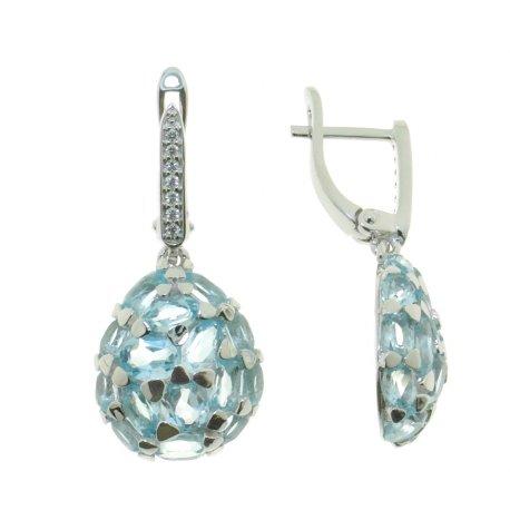 Серьги женские серебряные 925* родий топаз циркон Арт 11 0 6077tp