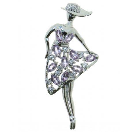 Брошка жіноча срібна 925* родій аметист Арт 19 0 5971am