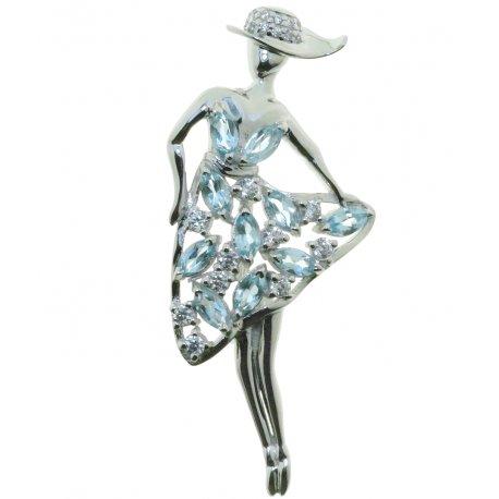 Брошь женская серебряная 925* родий топаз циркон Арт 19 0 5971tp
