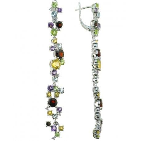 Серьги женские серебряные 925* родий аметист гранат цитрин Арт 11 0 3753mix