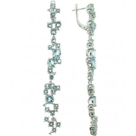 Серьги женские серебряные 925* родий топаз Артикул 11 0 3753tp