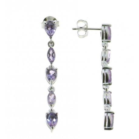Сережки жіночі срібні 925* родій аметист Арт 11 0 6103am