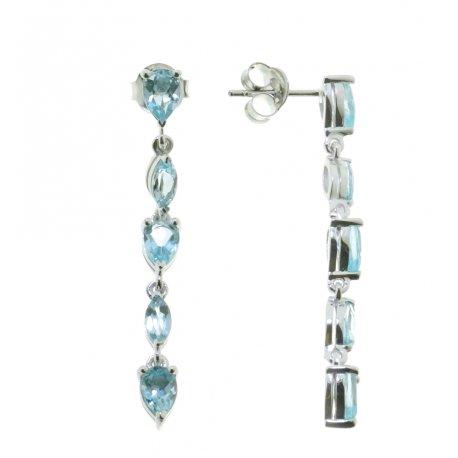 Серьги женские серебряные 925* родий топаз Артикул 11 0 6103tp