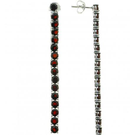 Сережки жіночі срібні 925* родій гранат Арт 11 0 5230gr