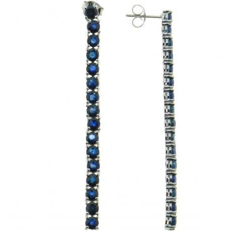 Серьги женские серебряные 925* родий сапфир Арт 11 0 5230sp