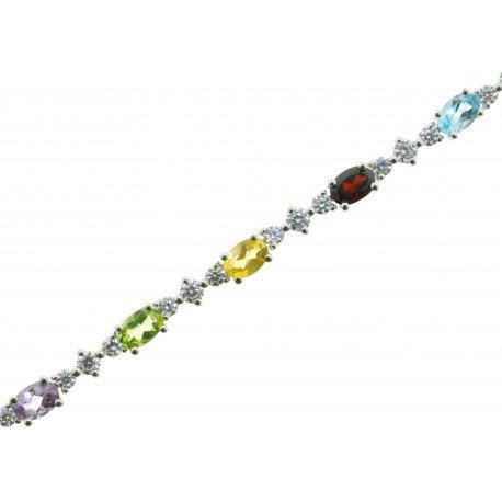 Браслет женский серебряный 925* родий топаз аметист гранат Арт 14 0 5851mix