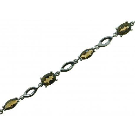 Браслет жіночий срібний 925* чорніння кварц Арт 14 0 6118qv