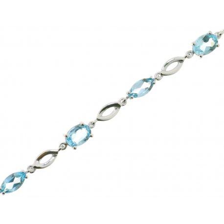 Браслет жіночий срібний 925* родій топаз Артикул 14 0 6118tp