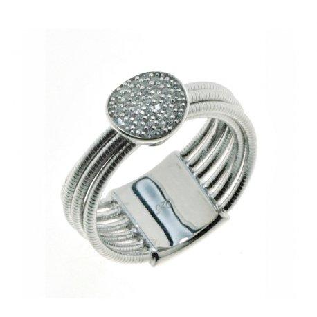 Кольцо женское серебряное 925* родий цирконий Арт 15 7 0441