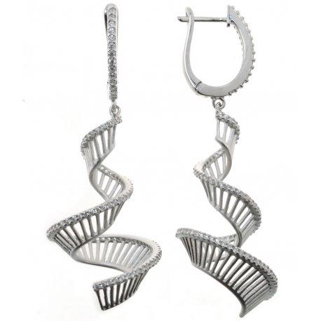 Серьги женские серебряные 925* родий цирконий Арт 11 7 2544