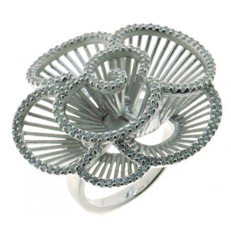 Кольцо женское серебряное 925* родий цирконий Арт 15 7 2428