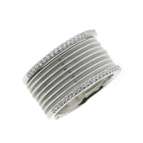 Кольцо женское серебряное 925* родий цирконий Арт 15 7 2148