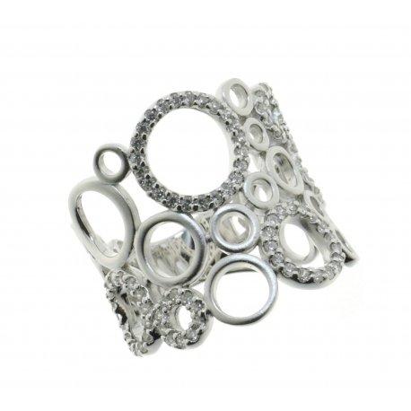 Каблучка жіноча срібна 925* родій цирконій Арт 15 7 3836б