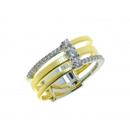 Кольцо женское серебряное 925* позолота цирконий Арт 15 7 3104жб