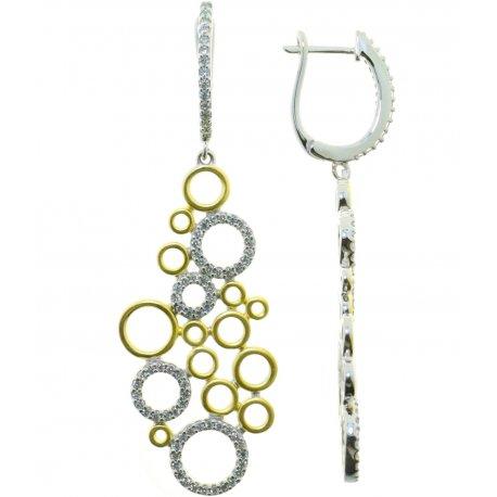 Сережки жіночі срібні 925* позолота цирконій Арт 11 7 3844жб