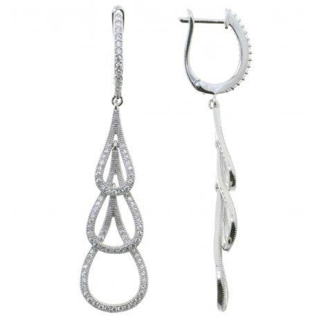 Серьги женские серебряные 925* родий цирконий Арт 11 7 0078