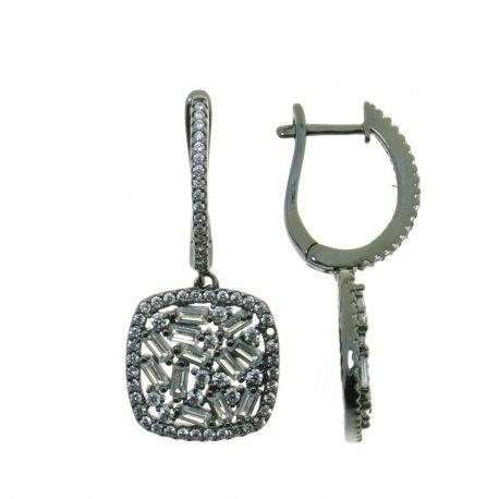 Сережки жіночі срібні 925* чорніння цирконій Арт 11 7 2786ч
